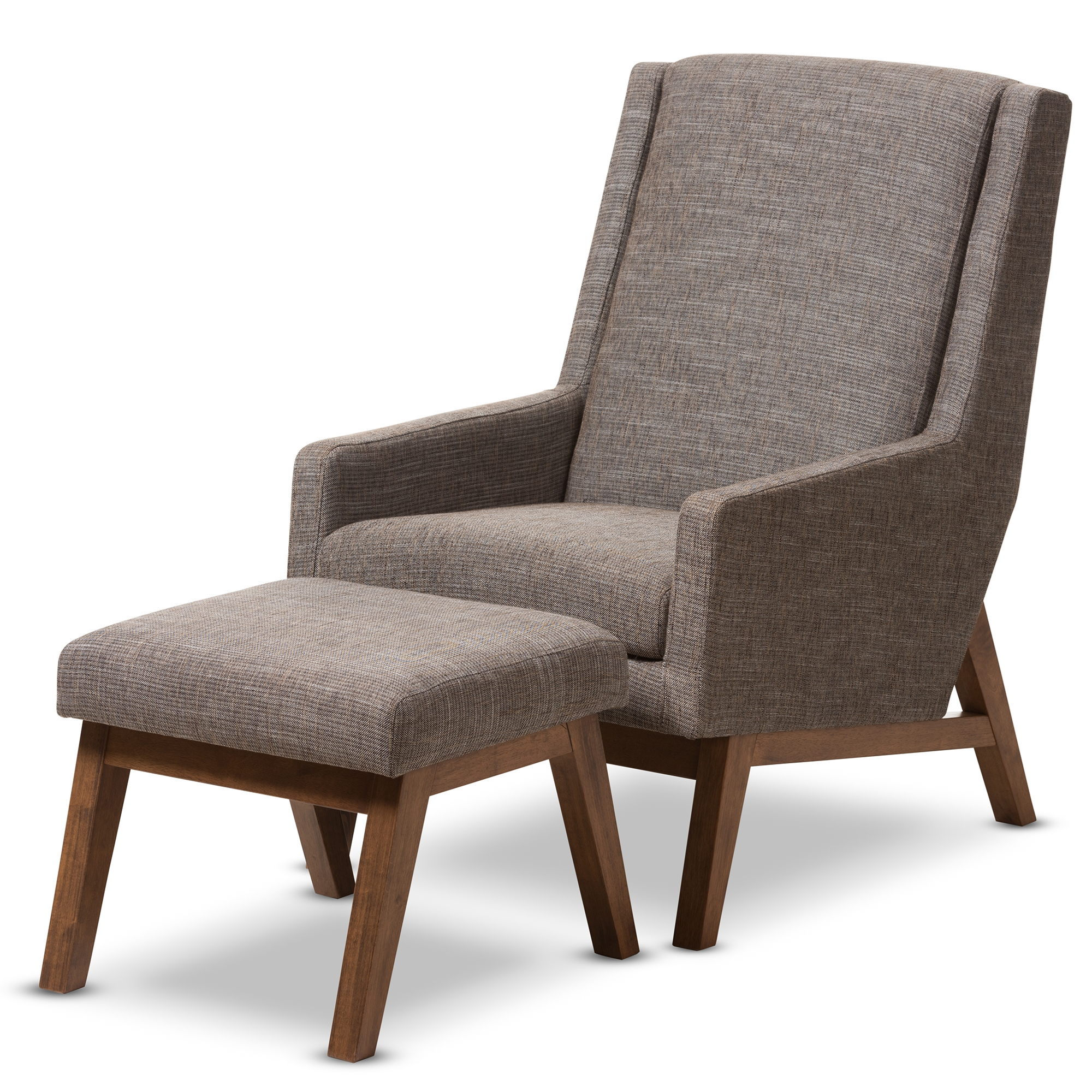 Baxton Studio Aberdeen Mid Century Modern Walnut Wood Finishing And Gravel  Fabric Upholstered Lounge Chair And Ottoman Set