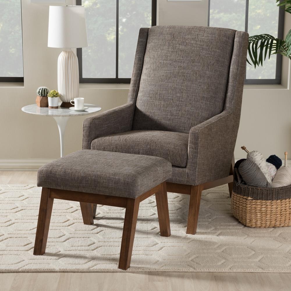 Baxton studio aberdeen mid century modern walnut wood - Mid century modern chair and ottoman ...