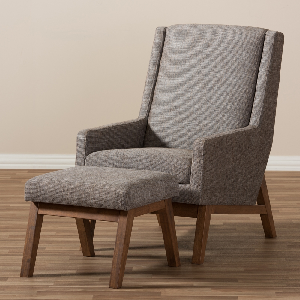 Baxton studio aberdeen mid century modern walnut wood for Mid century modern upholstered chair