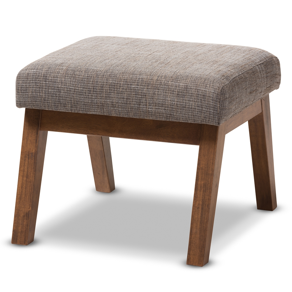 Baxton studio aberdeen mid century modern walnut wood finishing and gravel fabric upholstered ottoman affordable