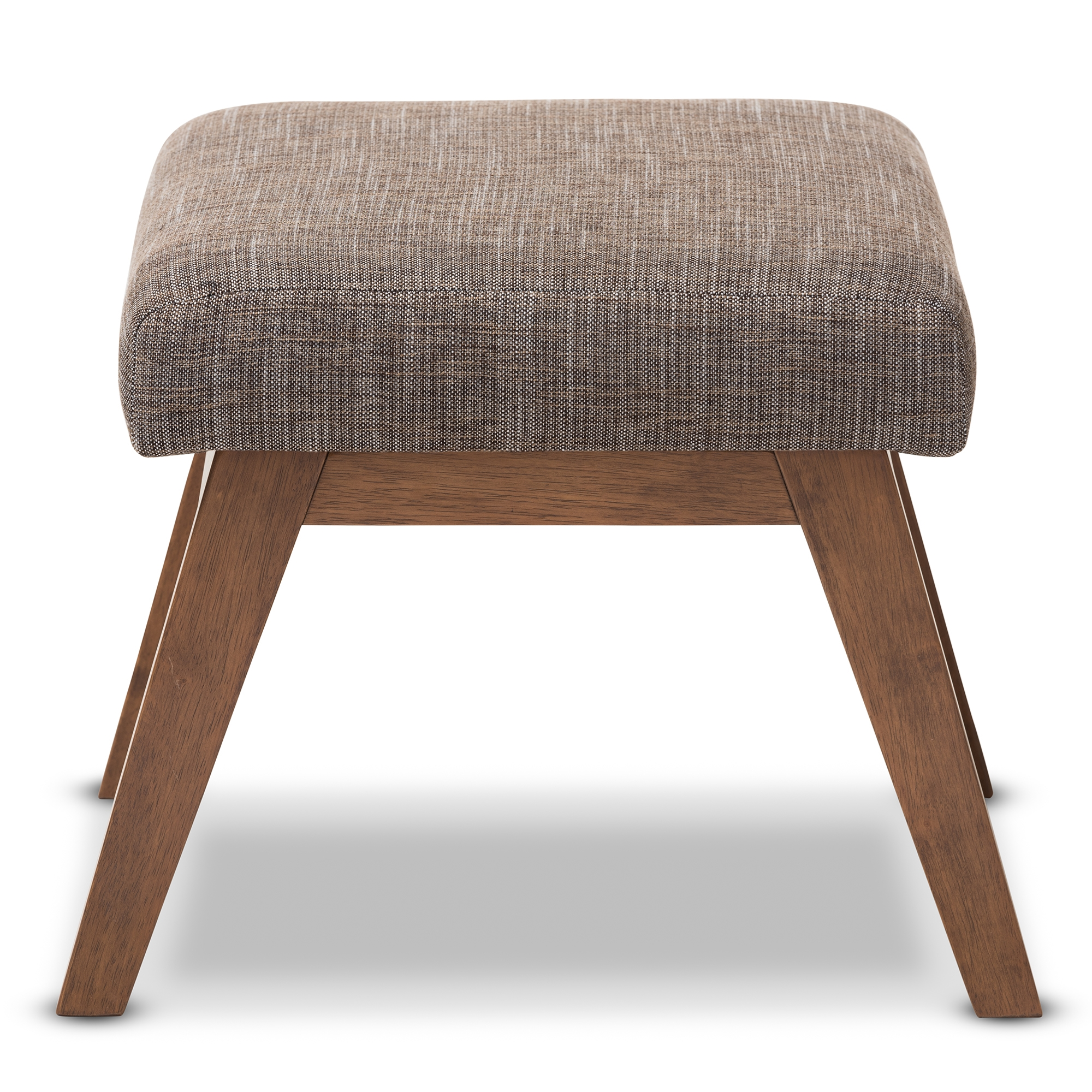 baxton studio aberdeen midcentury modern walnut wood finishing and gravel fabric upholstered ottoman - Upholstered Ottoman