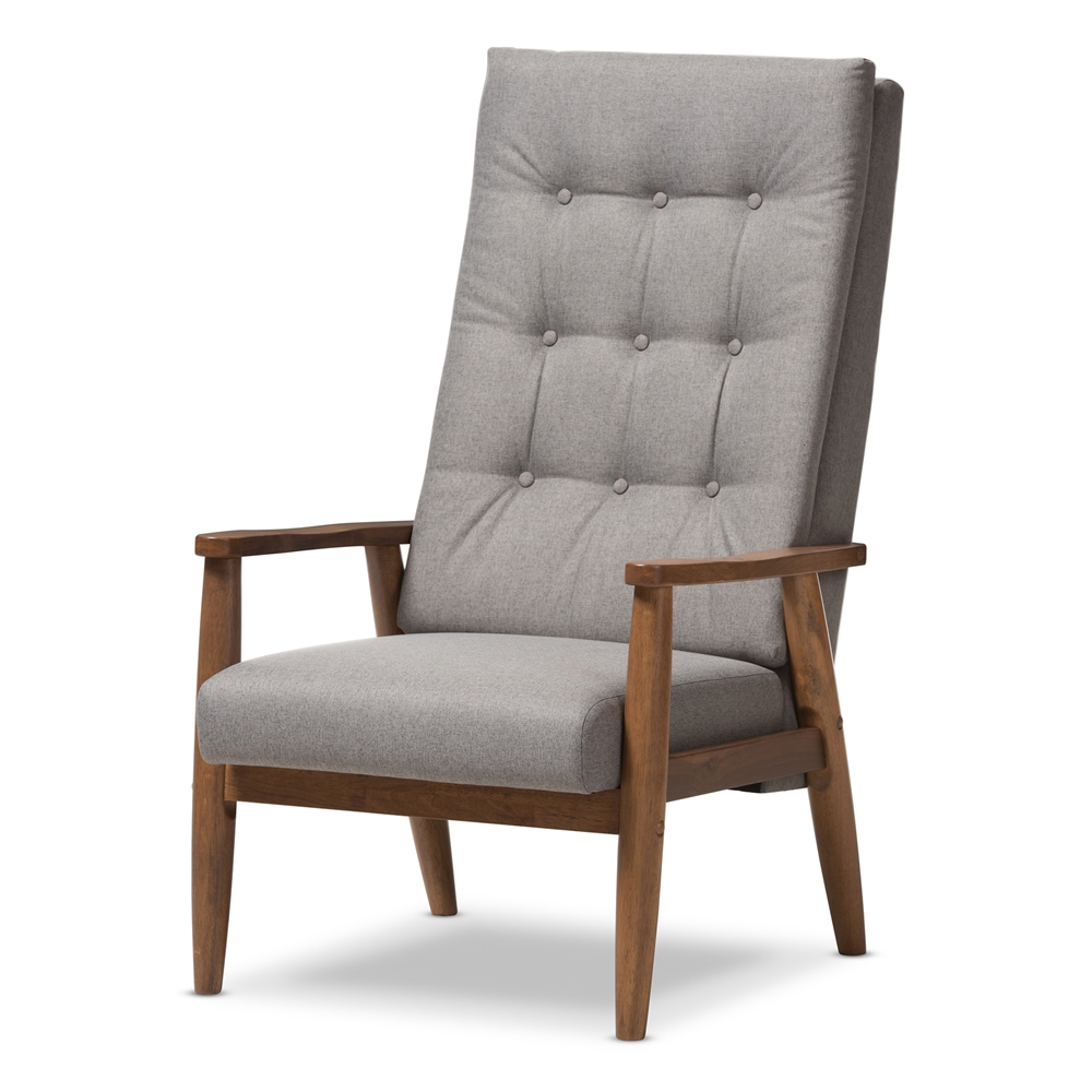 High back chair modern - Baxton Studio Roxy Mid Century Modern Walnut Brown Finish Wood And Grey Fabric Upholstered Button Tufted High Back Chair