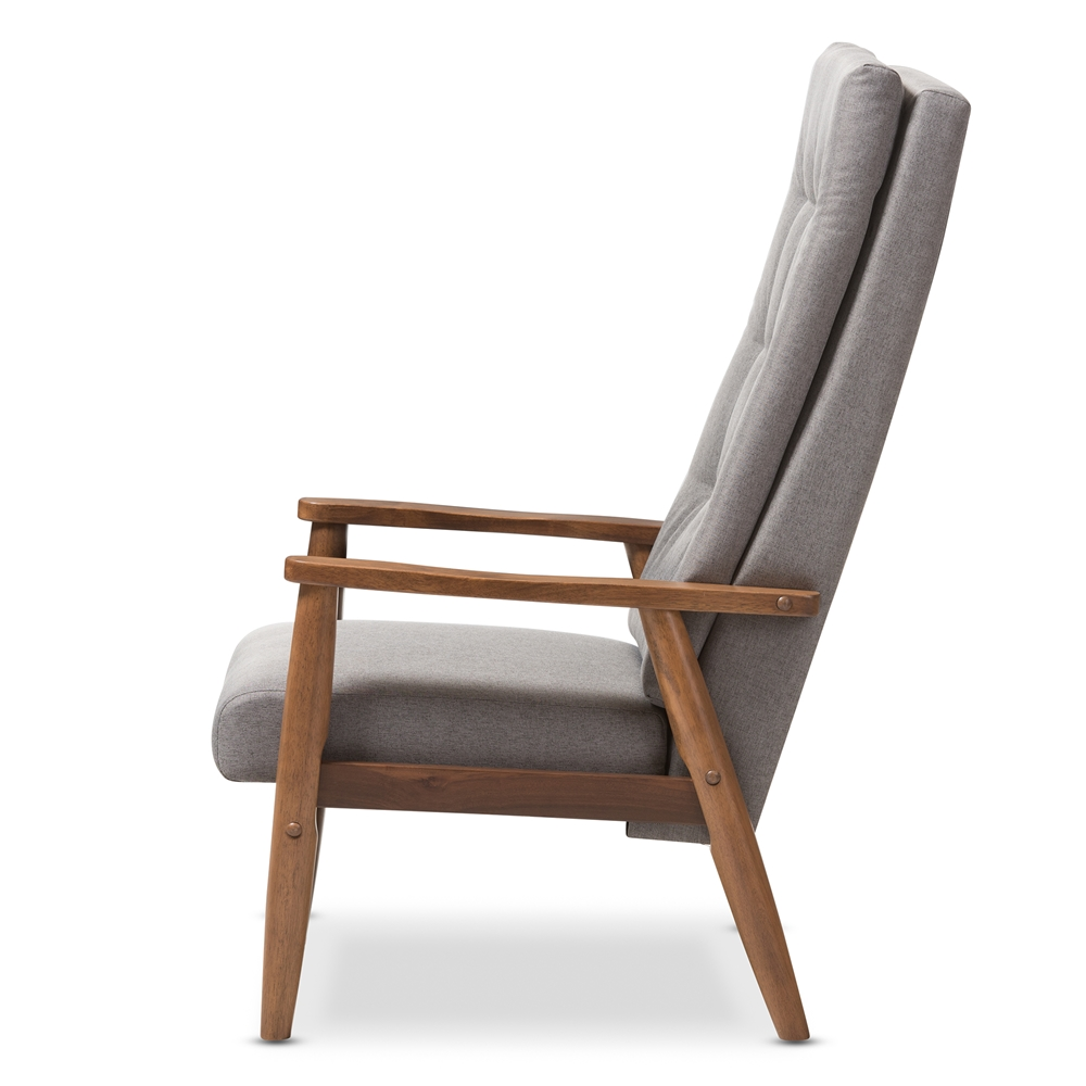 High back chair modern -  Baxton Studio Roxy Mid Century Modern Walnut Brown Finish Wood And Grey Fabric Upholstered Button