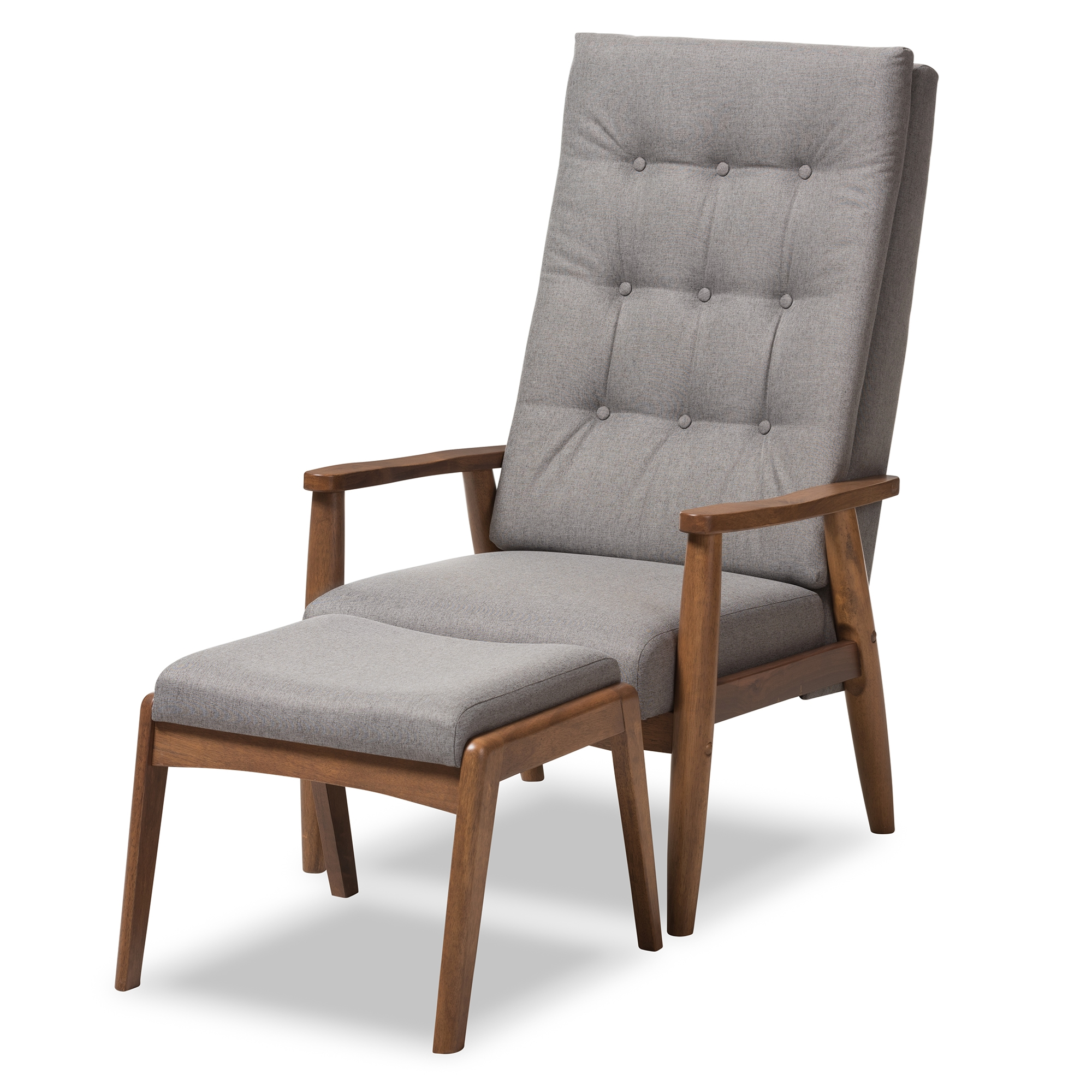 Baxton Studio Roxy Mid Century Modern Walnut Wood Finishing And Grey Fabric  Upholstered Button Tufted High Back Lounge Chair And Ottoman Set