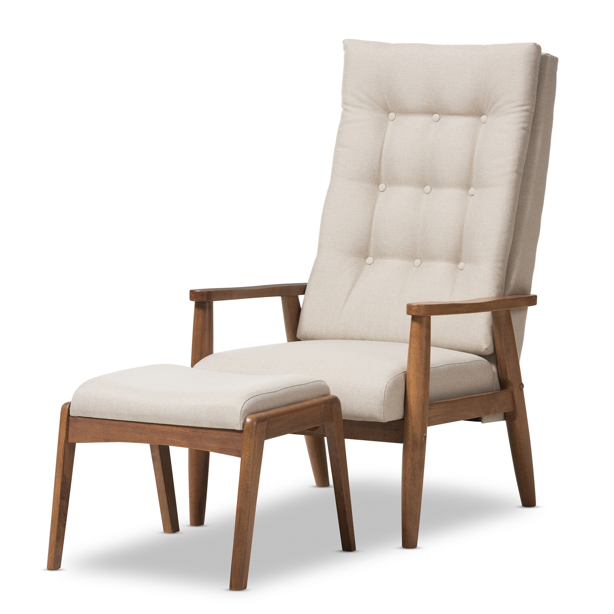Baxton Studio Roxy Mid Century Modern Walnut Wood Finishing And Light Beige  Fabric Upholstered Button Tufted High Back Lounge Chair And Ottoman Set Part 74