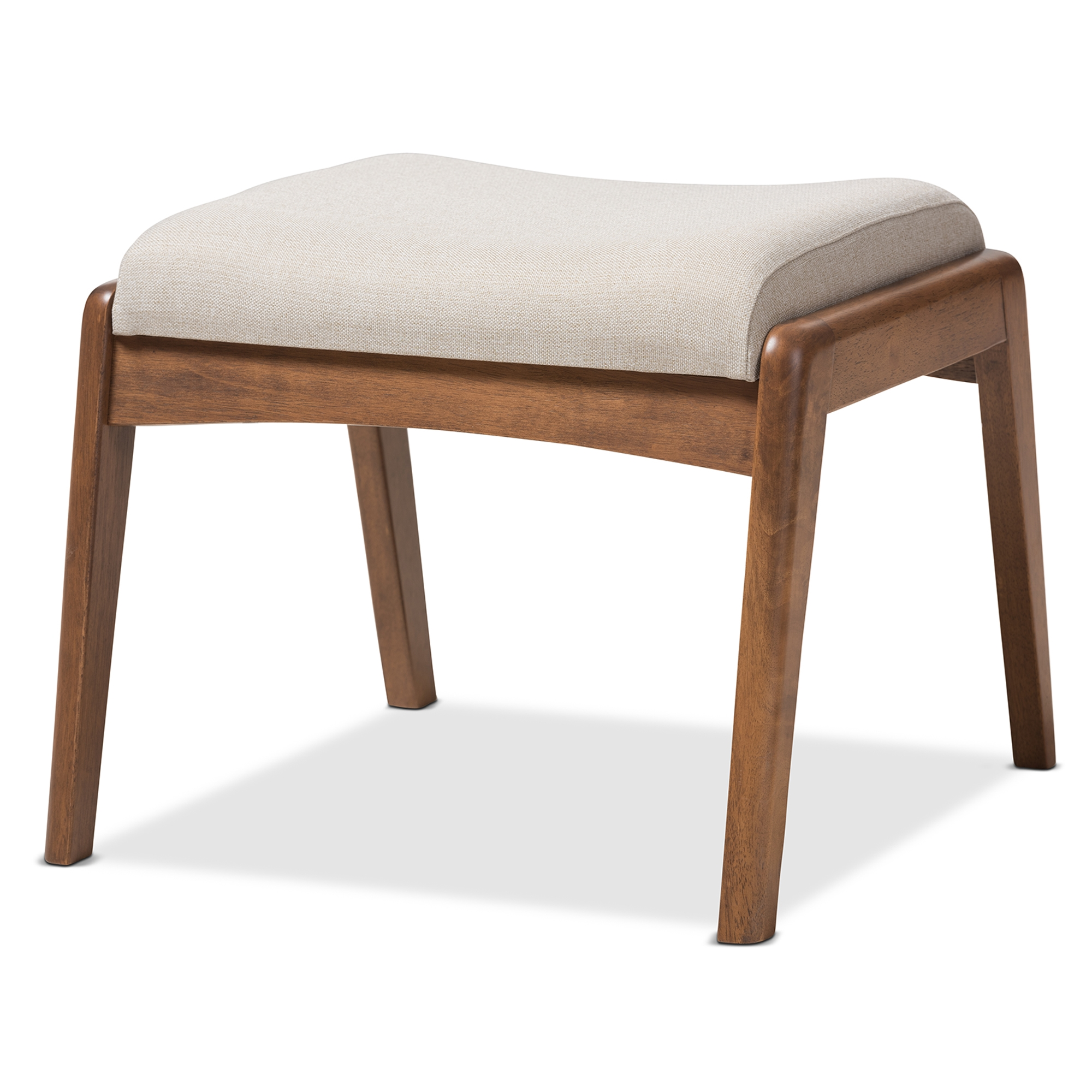 Baxton Studio Roxy Mid Century Modern Walnut Wood Finishing And Light Beige  Fabric Upholstered Ottoman