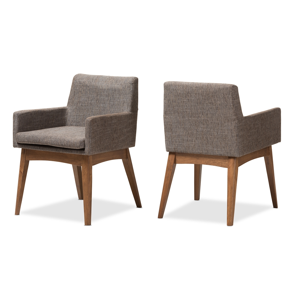 dining chairs dining room furniture affordable modern baxton studio nexus mid century modern walnut wood finishing and gravel fabric upholstered arm chair