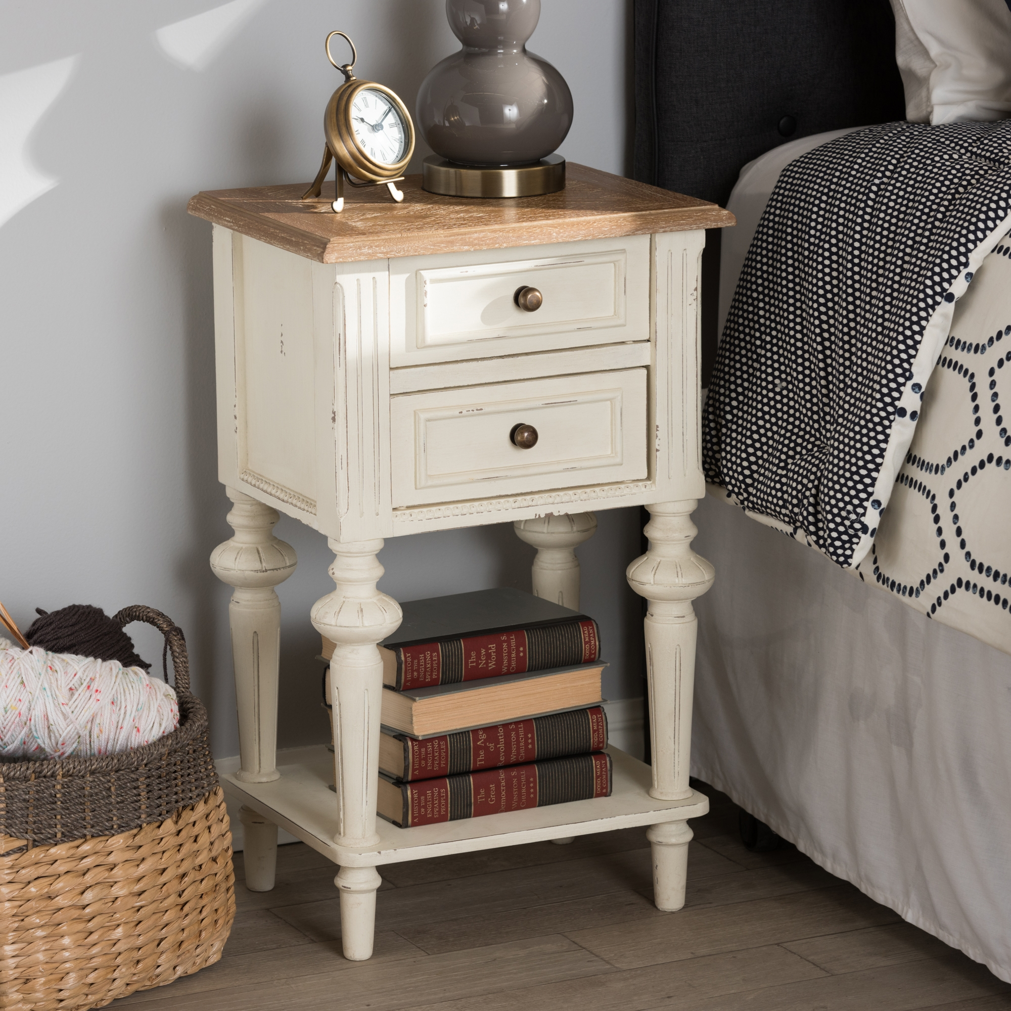 ... Baxton Studio Marquetterie French Provincial Style Weathered Oak And  White Wash Distressed Finish Wood Two  ...