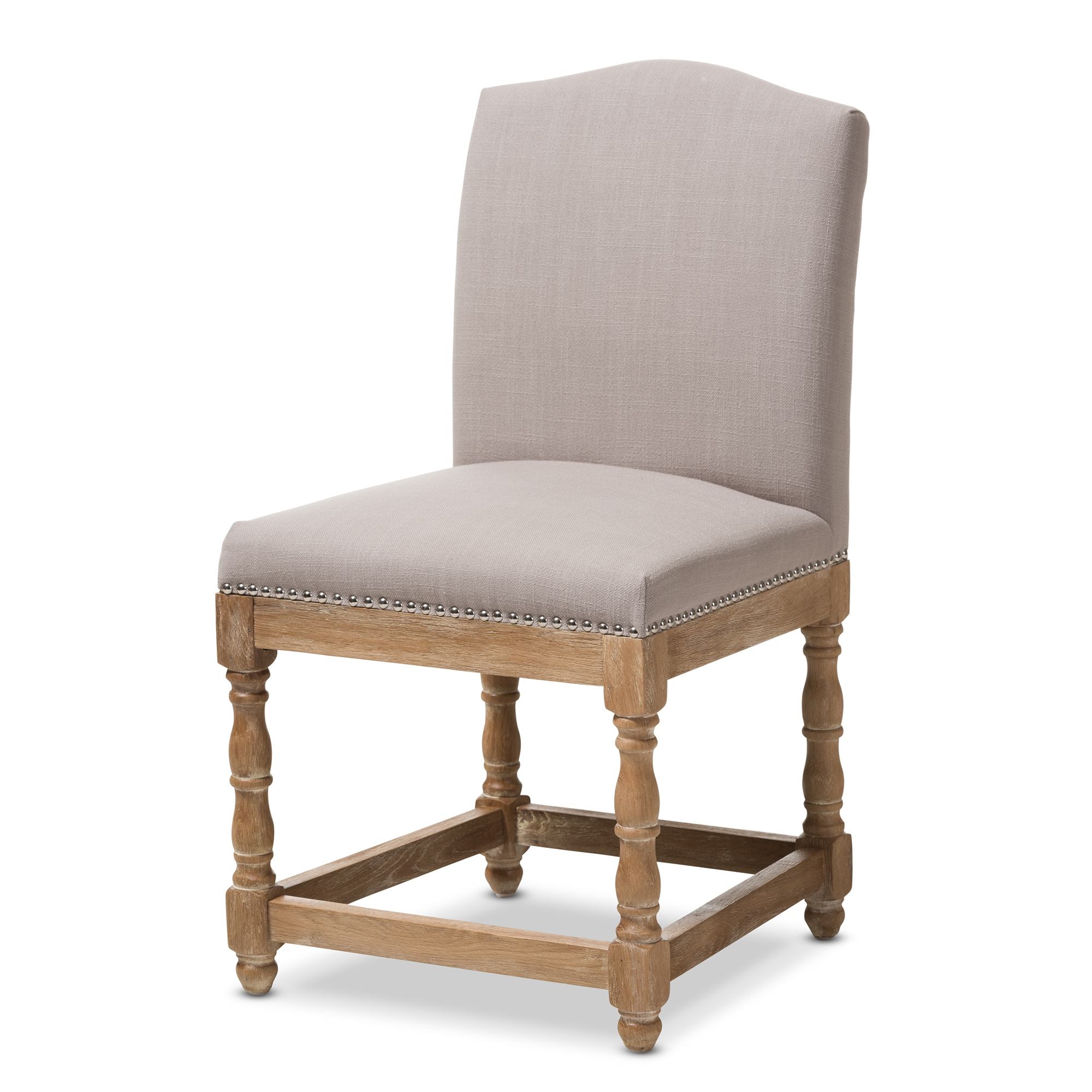 Baxton Studio Paige French Vintage Cottage Weathered Oak Finish Wood And  Beige Fabric Upholstered Dining Side