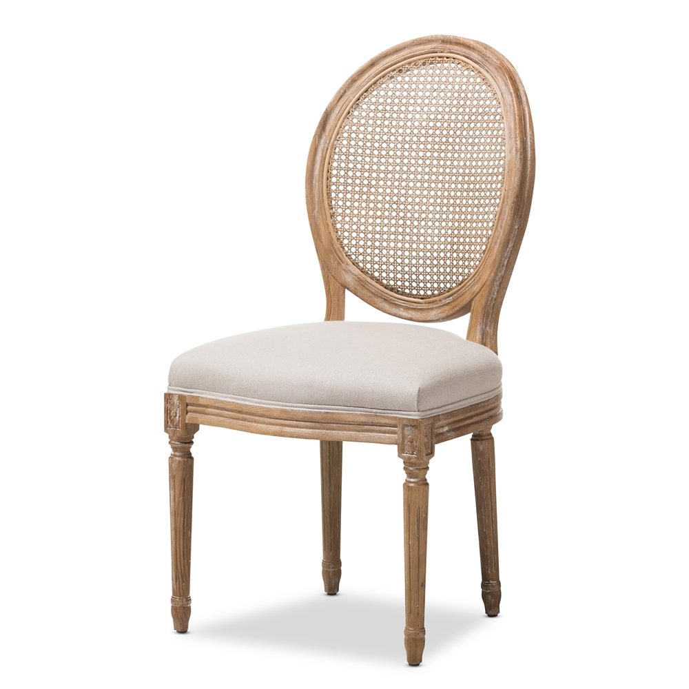 Baxton Studio Adelia French Vintage Cottage Weathered Oak Finish Wood And Beige Fabric Upholstered Dining Side Chair With 18803 on Weathered Oak Bedroom Furniture
