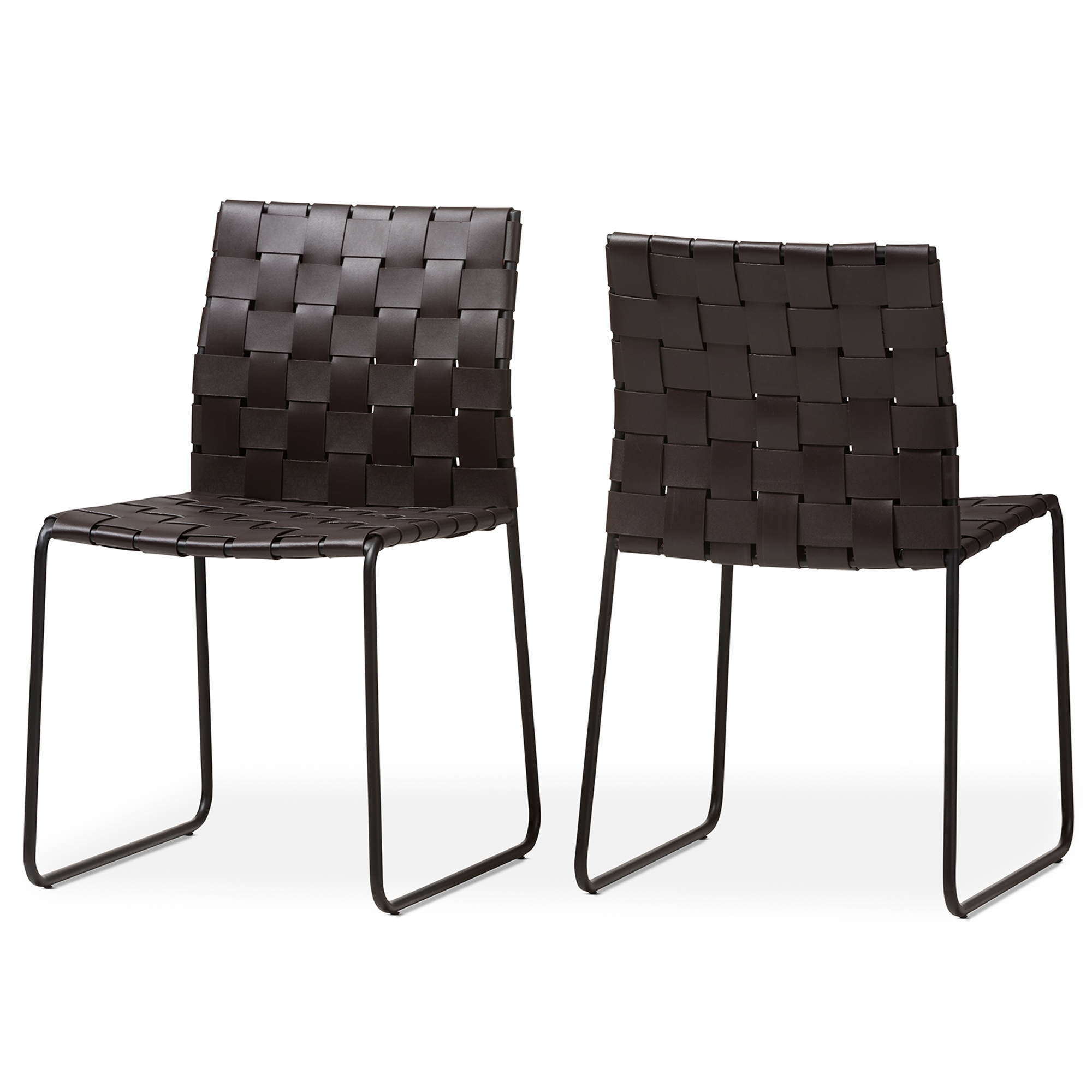 baxton studio fairfield modern and dark brown bonded leather dining chair set of 2