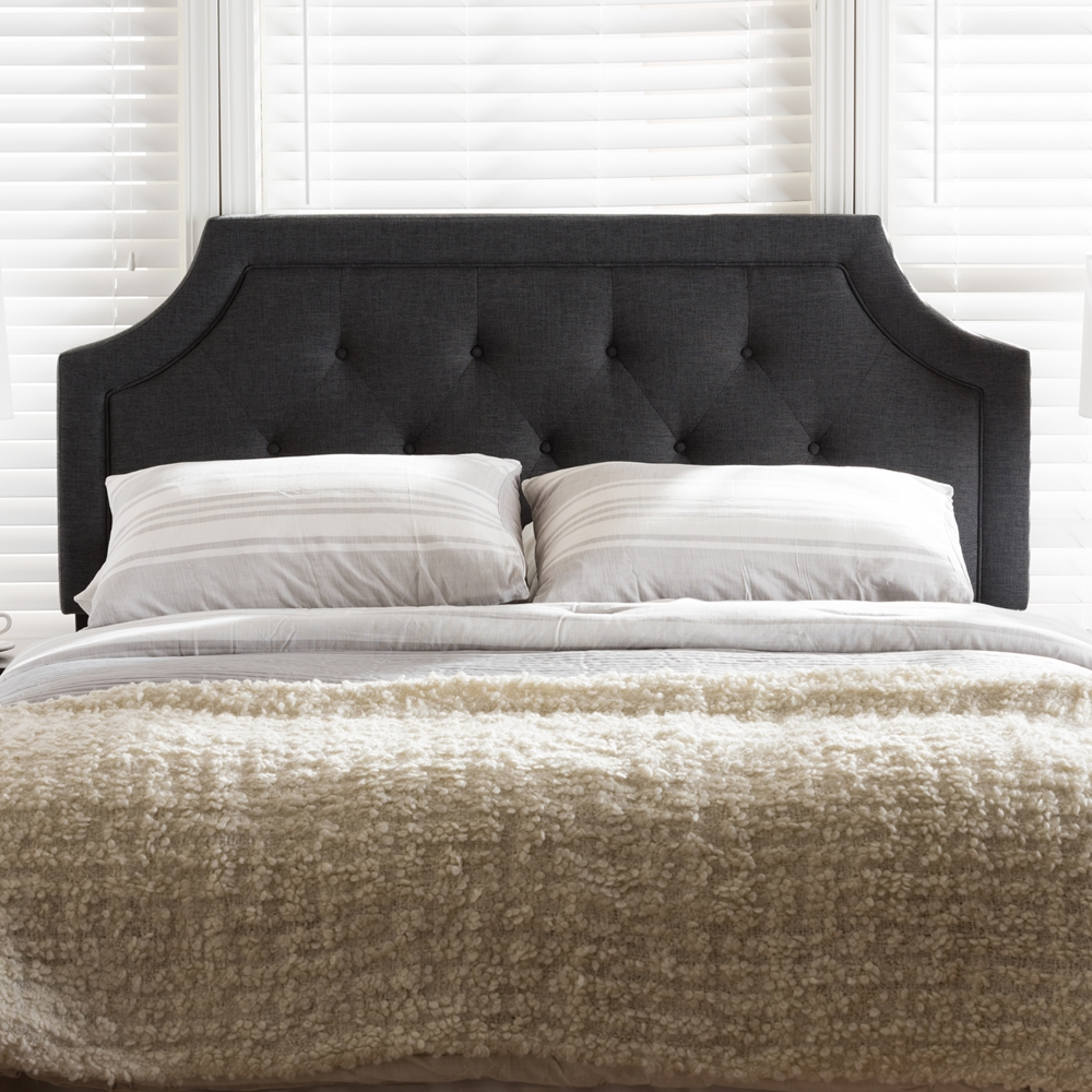 baxton studio mars modern and contemporary dark grey fabric king size headboard. Black Bedroom Furniture Sets. Home Design Ideas