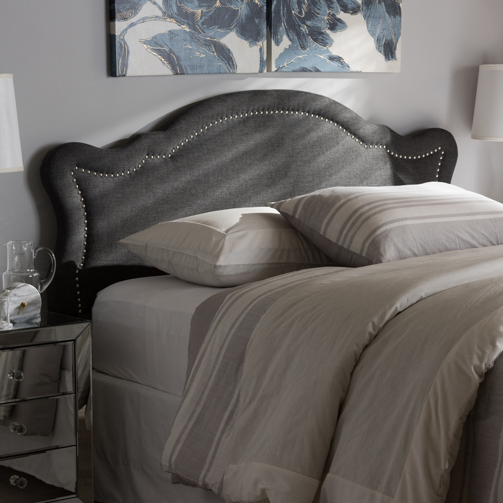 baxton studio avery modern and contemporary dark grey fabric king size headboard. Black Bedroom Furniture Sets. Home Design Ideas