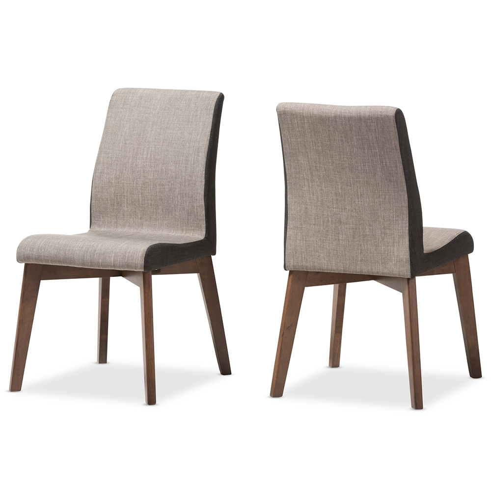 Baxton studio kimberly mid century modern beige and brown for Cloth dining room chairs