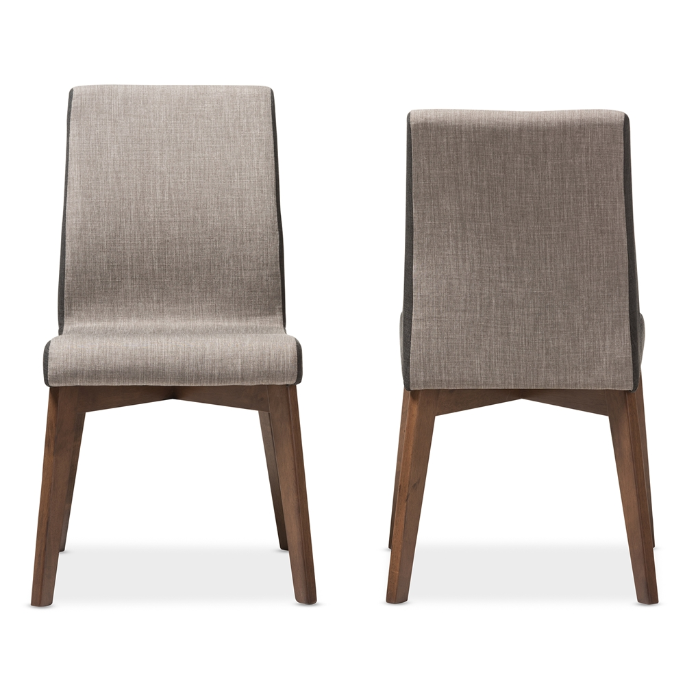 Baxton Studio Kimberly Mid-Century Modern Beige and Brown Fabric ...