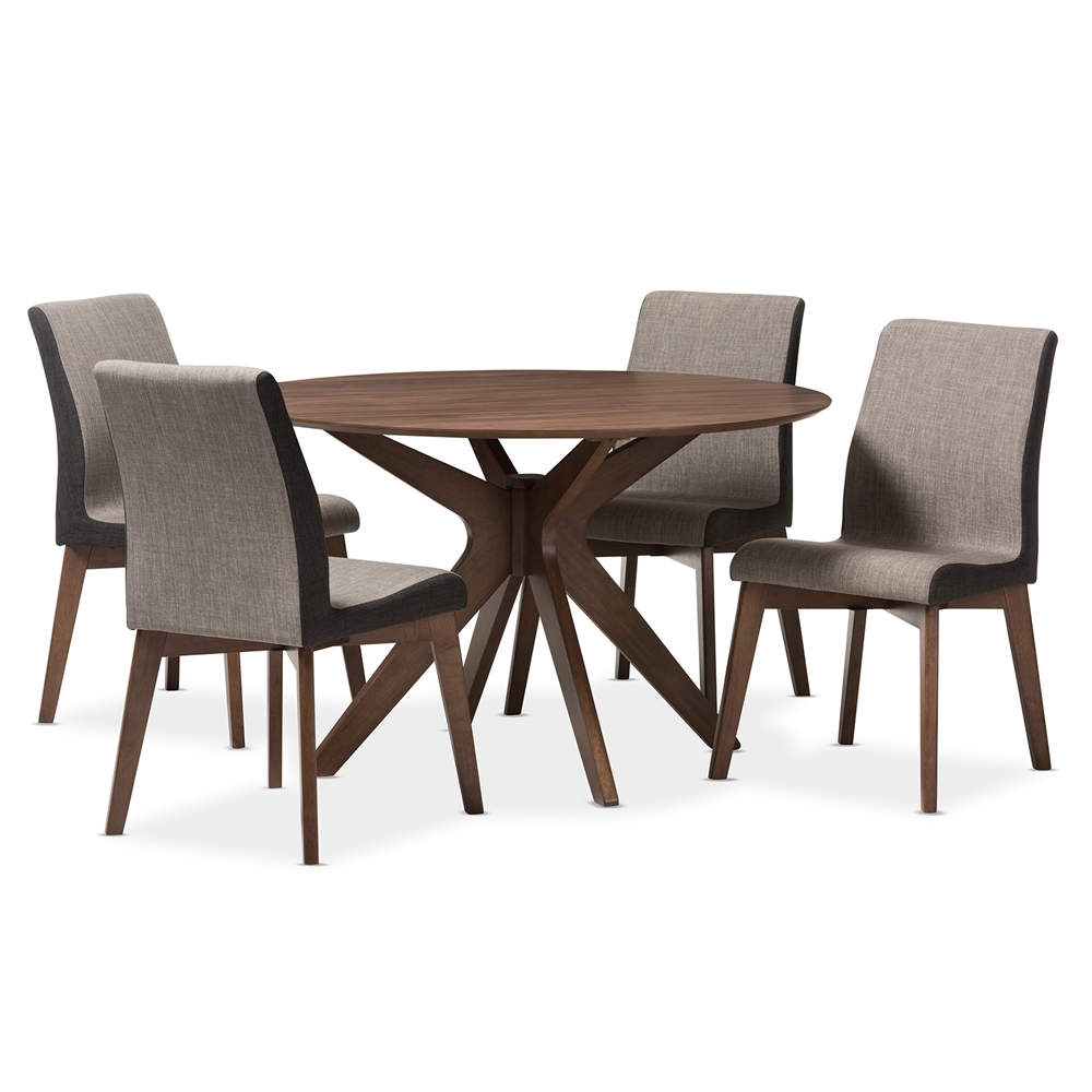 Baxton Studio Kimberly Mid Century Modern Walnut Wood Round 5 Piece Dining Set Affordable