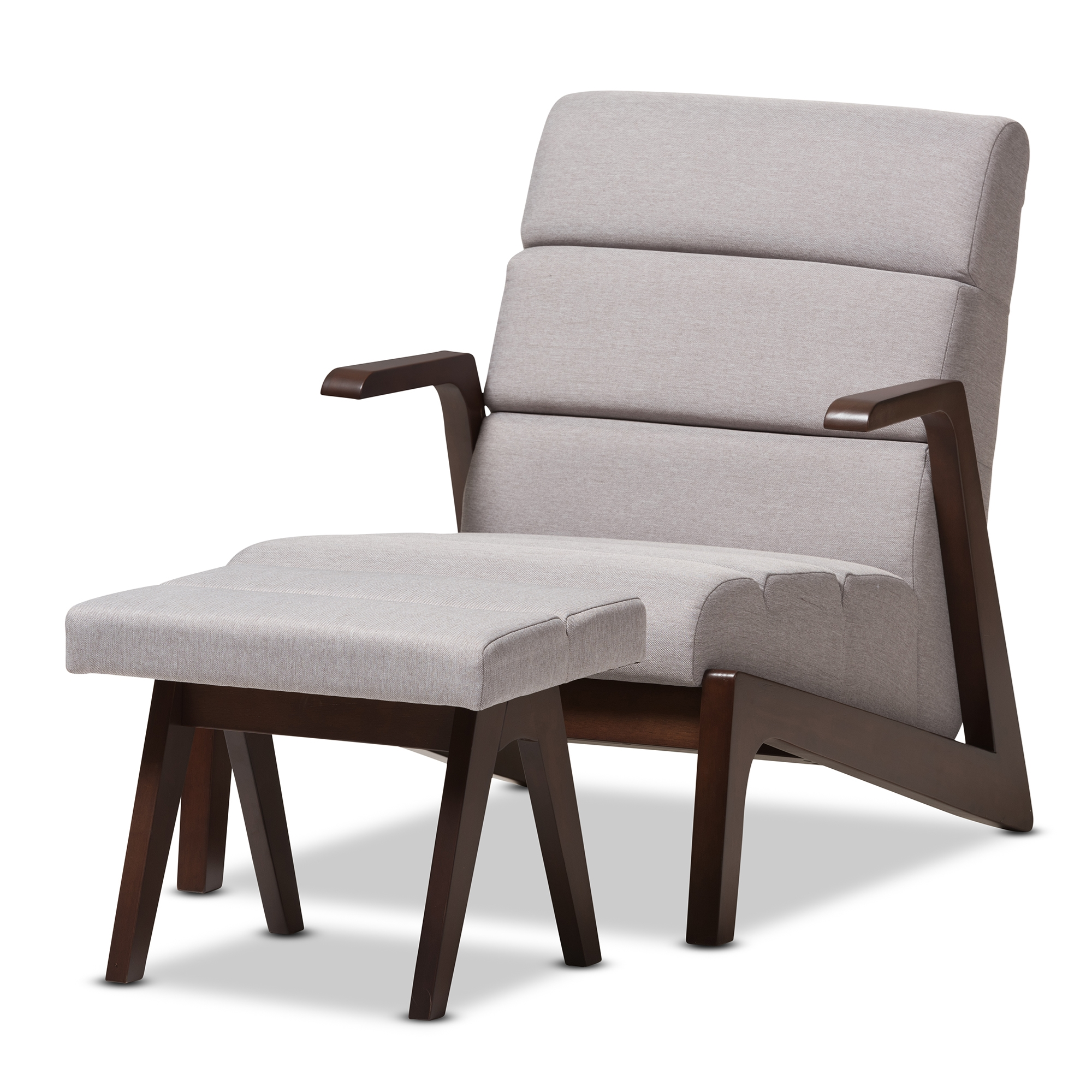 Baxton studio vino mid century modern walnut wood grey fabric lounge chair set