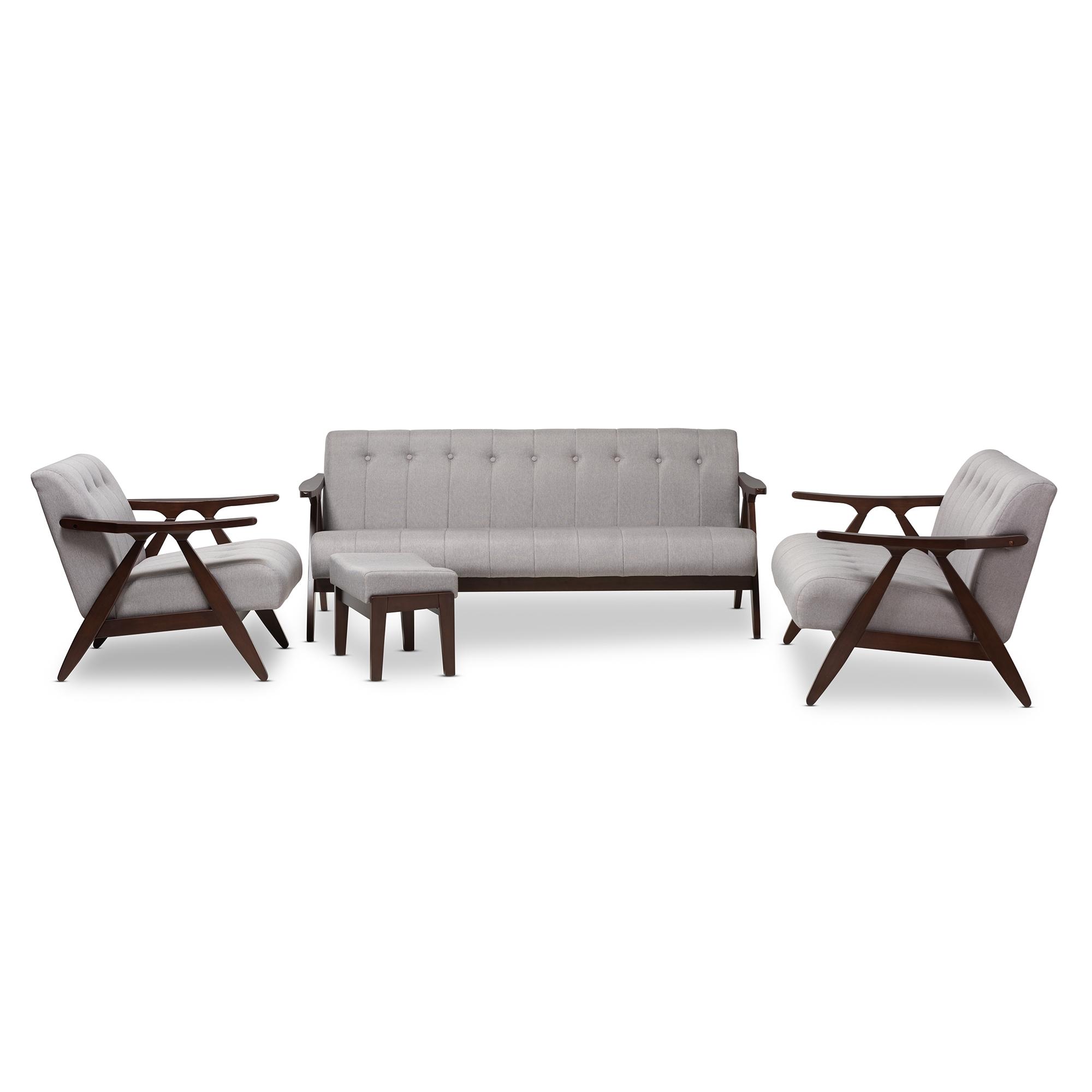 Baxton Studio Enya Mid-Century Modern Walnut Wood Grey Fabric 4 ...
