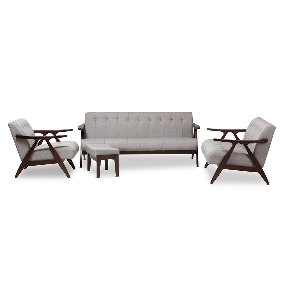 Living Room Furniture Walnut Wood baxton studio enya mid-century modern walnut wood grey fabric 4