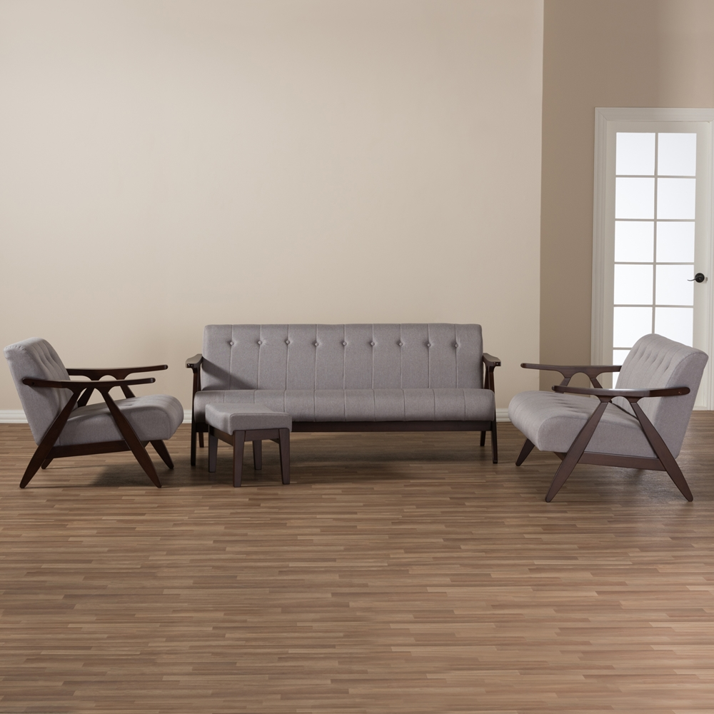 Baxton Studio Enya Mid Century Modern Walnut Wood Grey Fabric 4 Piece Living Room Set