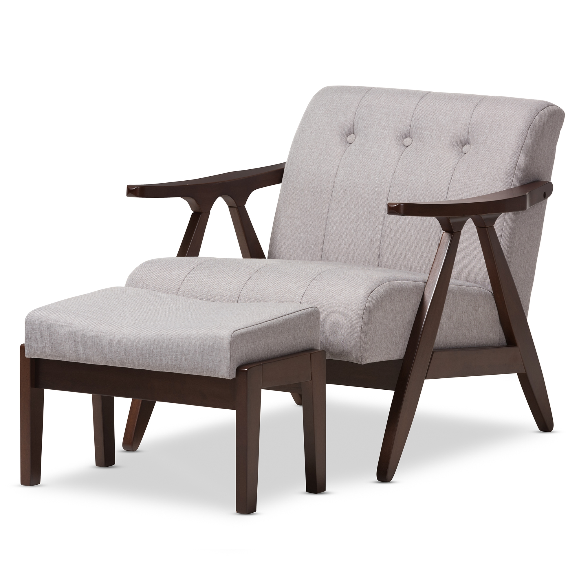 Baxton Studio Enya Mid Century Modern Walnut Wood Grey Fabric Lounge Chair  Set