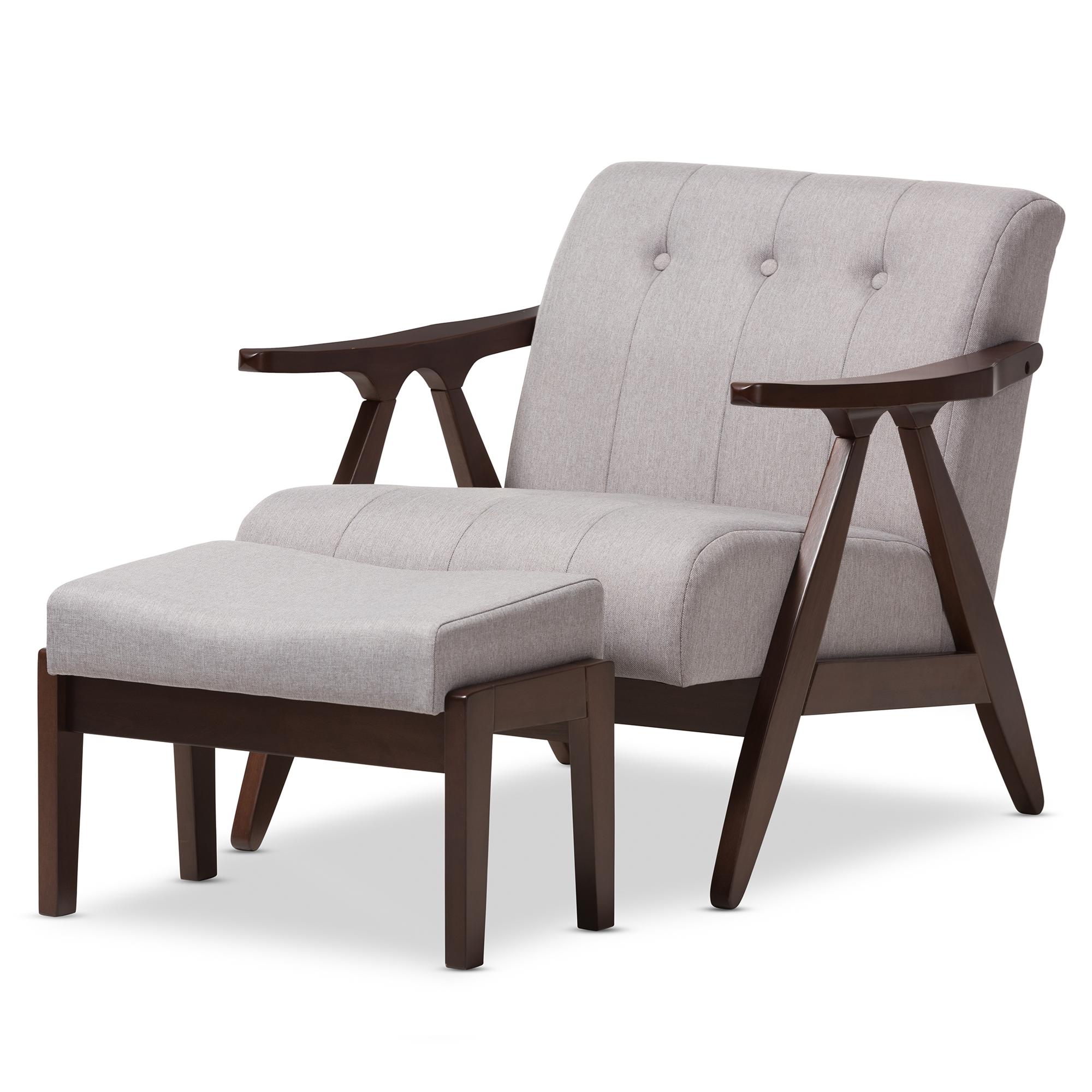 Baxton Studio Enya Mid Century Modern Walnut Wood Grey Fabric Lounge Chair  Set Affordable Modern