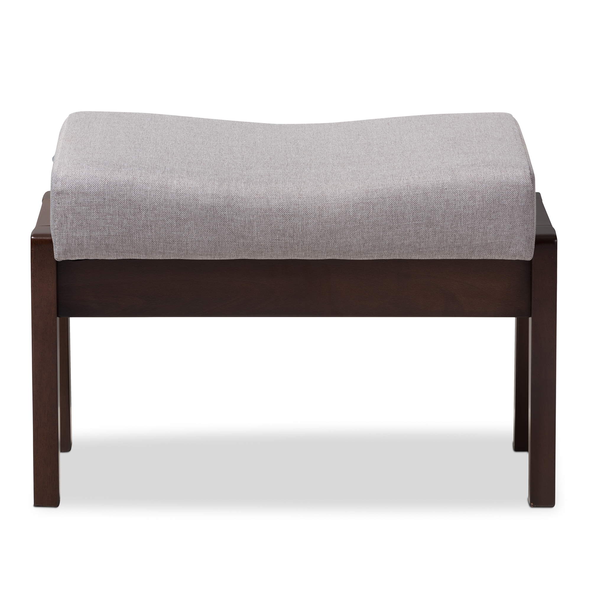 ... Baxton Studio Enya Mid Century Modern Walnut Wood Grey Fabric Ottoman    BSOLB160 Grey ...