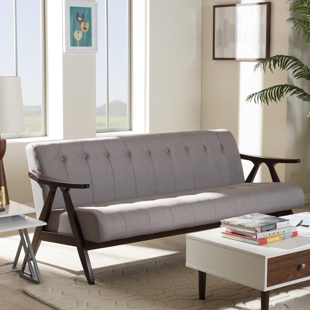 Baxton Studio Enya Mid Century Modern Walnut Wood Grey