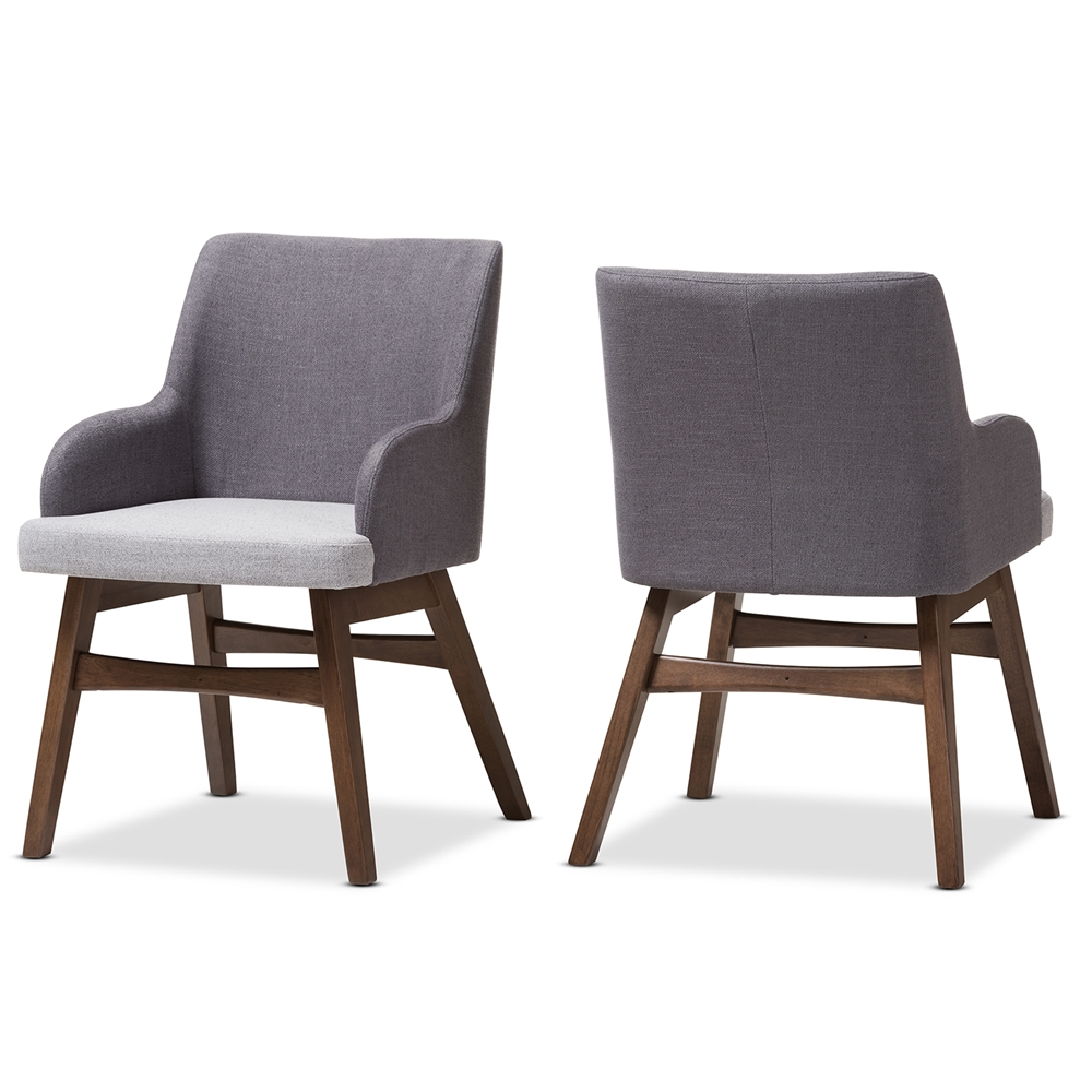 dining chairs dining room furniture affordable modern baxton studio monte mid century modern two tone grey fabric armchair set of