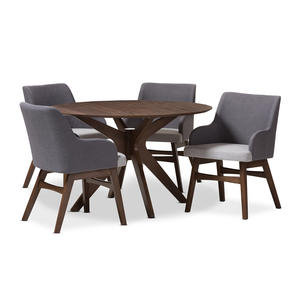 Baxton studio monte mid century modern walnut wood round 5 for Contemporary dining set
