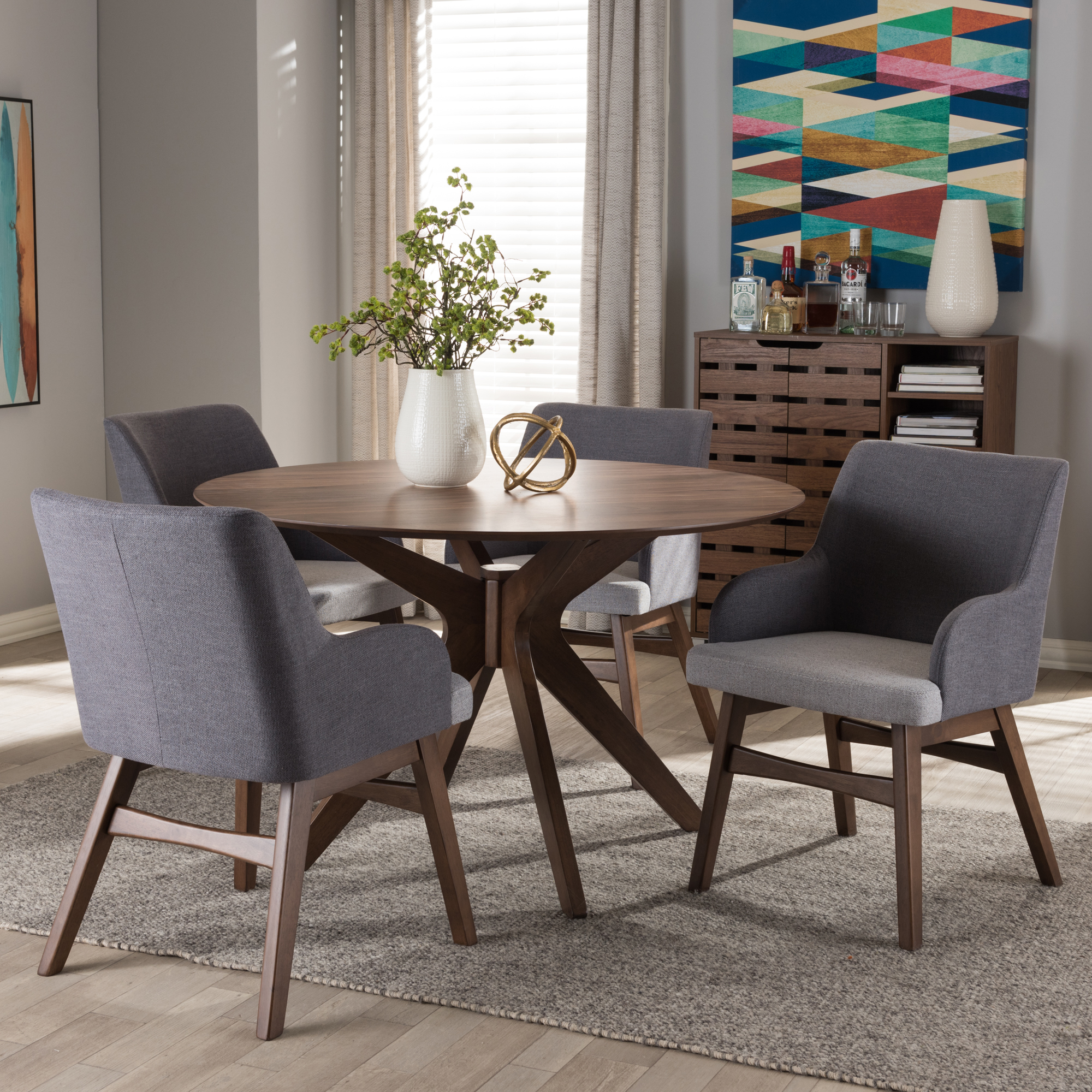 ... Baxton Studio Monte Mid Century Modern Walnut Wood Round 5 Piece Dining  Set ... Part 87
