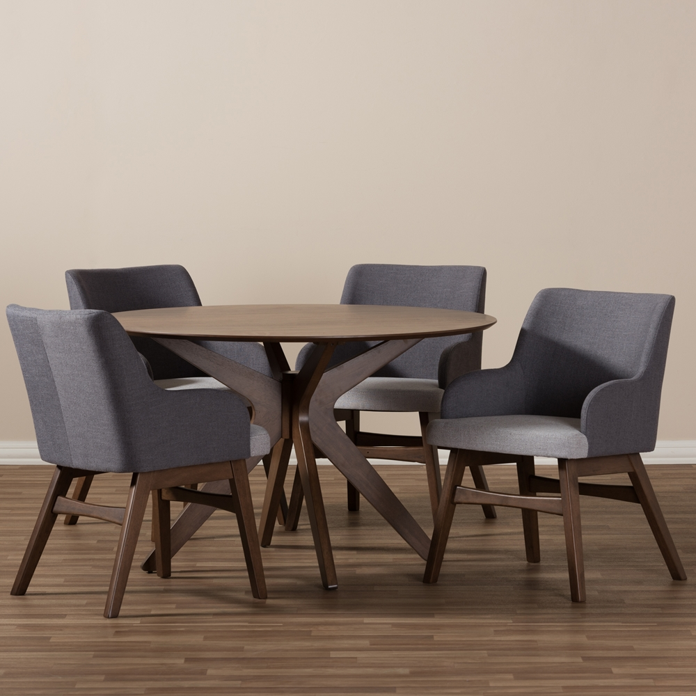 baxton studio monte midcentury modern walnut wood round piece  -  baxton studio monte midcentury modern walnut wood round piece diningset