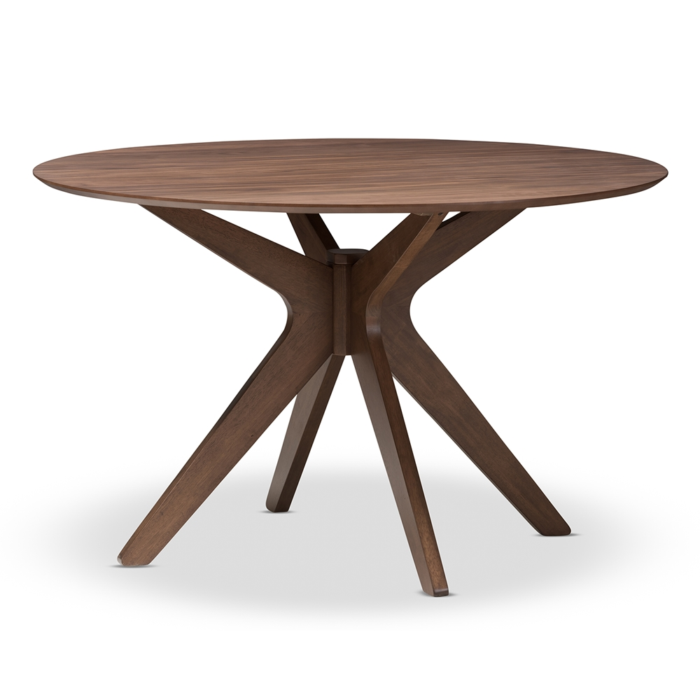 Baxton studio monte mid century modern walnut wood 47 inch for Modern round dining room tables