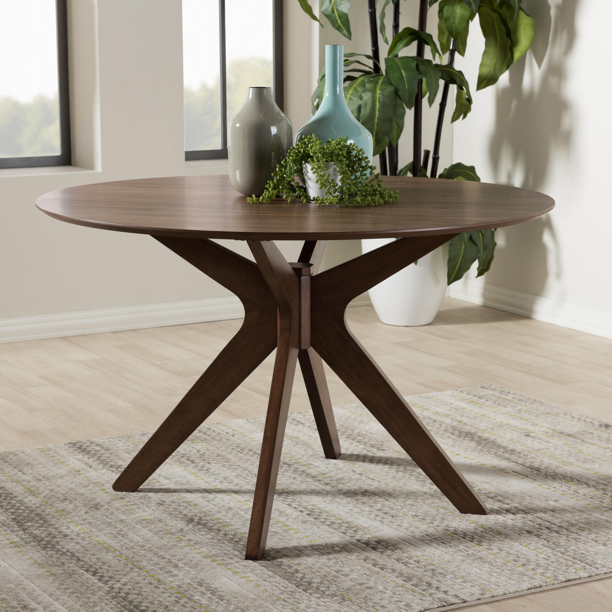 ... Baxton Studio Monte Mid Century Modern Walnut Wood 47 Inch Round Dining  Table ...