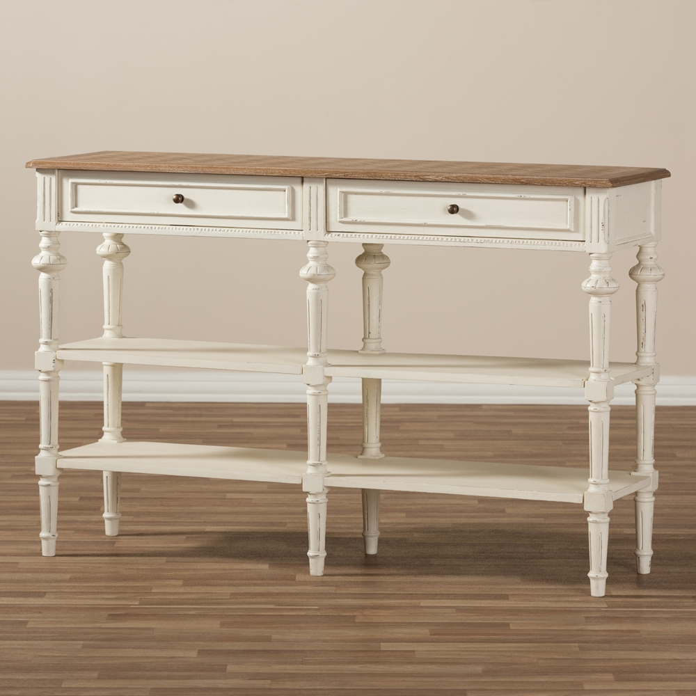 Baxton studio marquetterie french provincial weathered oak and baxton studio marquetterie french provincial weathered oak and whitewash console table bsoprl14vmar geotapseo Choice Image