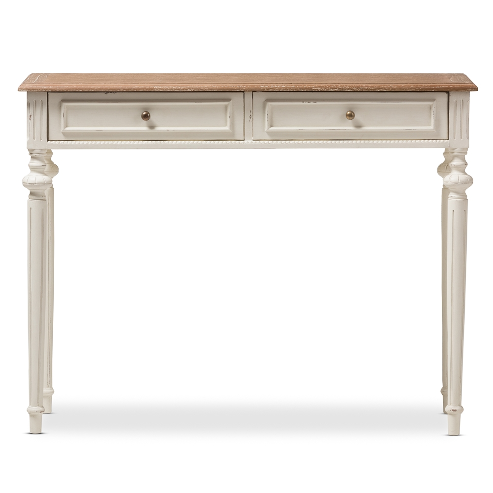 French Console Table baxton studio marquetterie french provincial weathered oak and