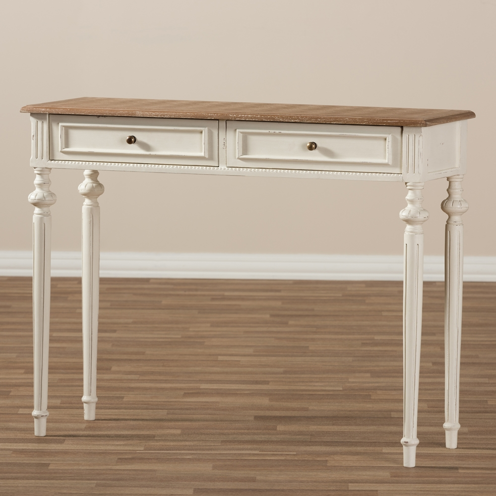 Baxton Studio Marquetterie French Provincial Weathered Oak And