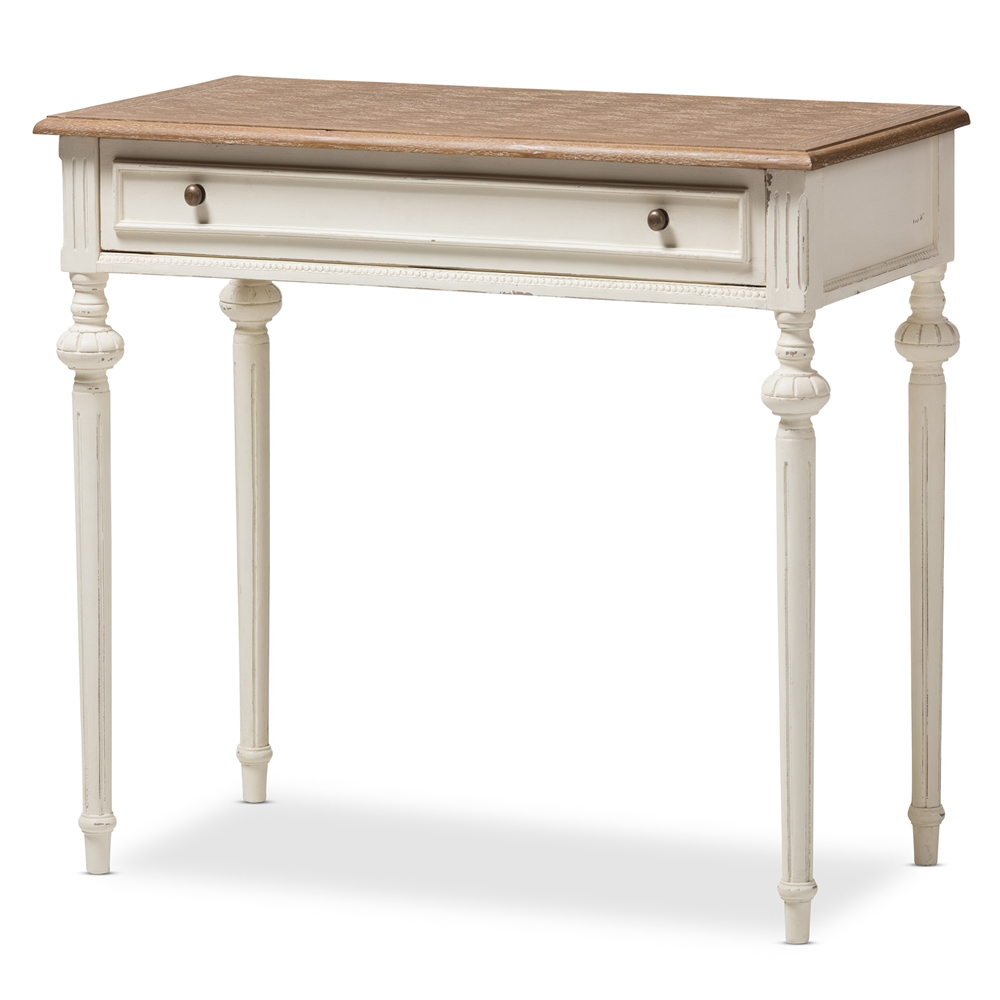 baxton studio marquetterie french provincial weathered oak and whitewash writing desk affordable modern furniture in chicago