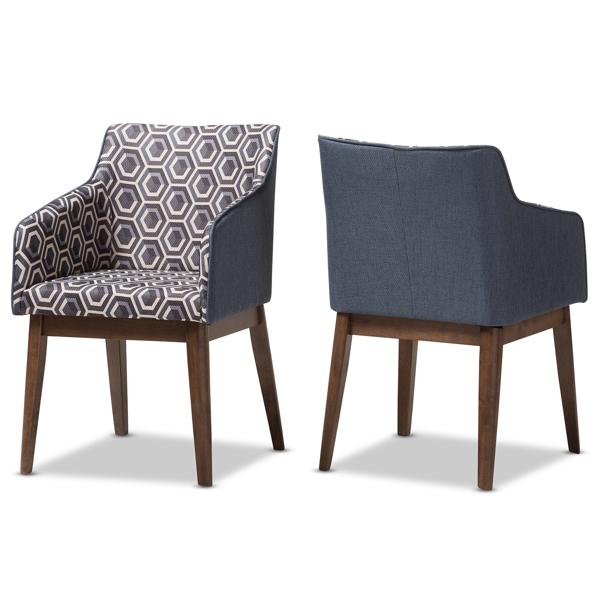 Superieur Baxton Studio Reece Mid Century Modern Dark Blue Patterned Fabric Lounge  Chair (Set Of 2)