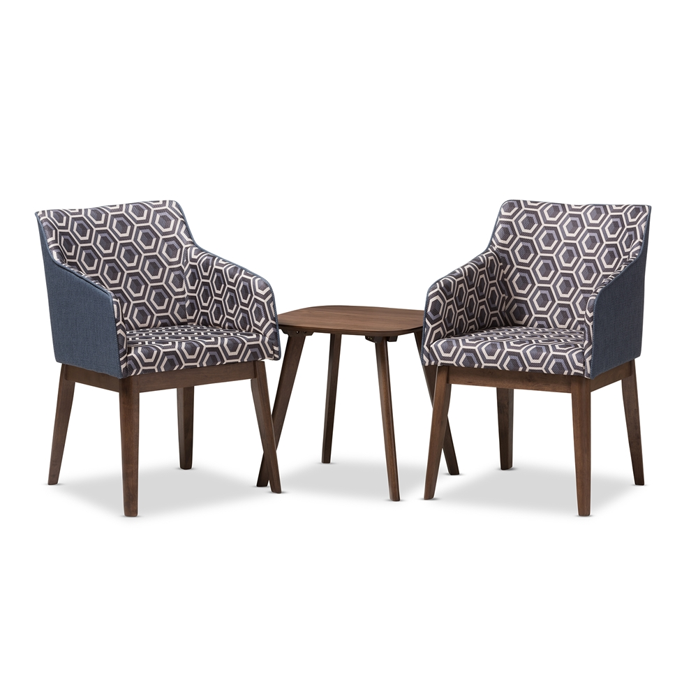 Modern classic lounge chair - Baxton Studio Reece Mid Century Modern 3 Piece Lounge Chair And Side Table Set