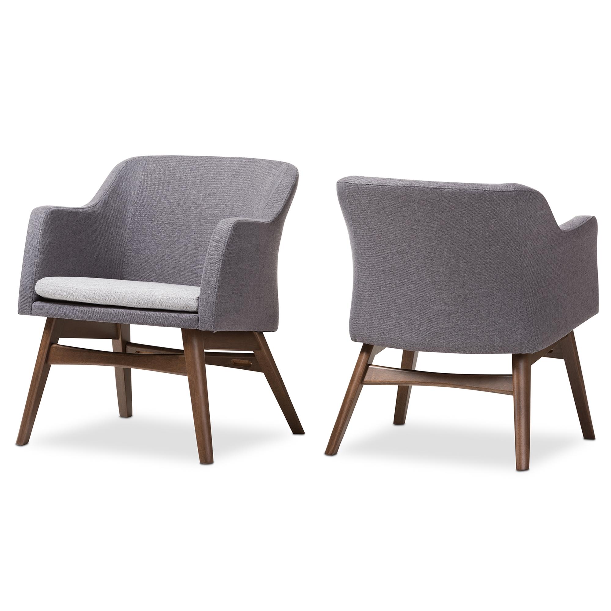 Baxton Studio Vera Mid Century Modern Two Tone Grey Fabric Lounge Chair  (Set ...