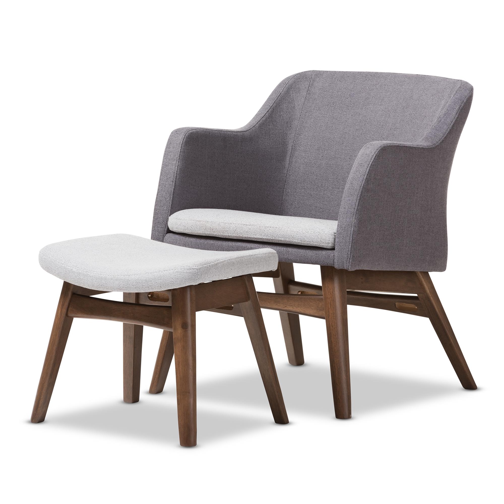 baxton studio vera midcentury modern twotone grey fabric lounge chair and ottoman set