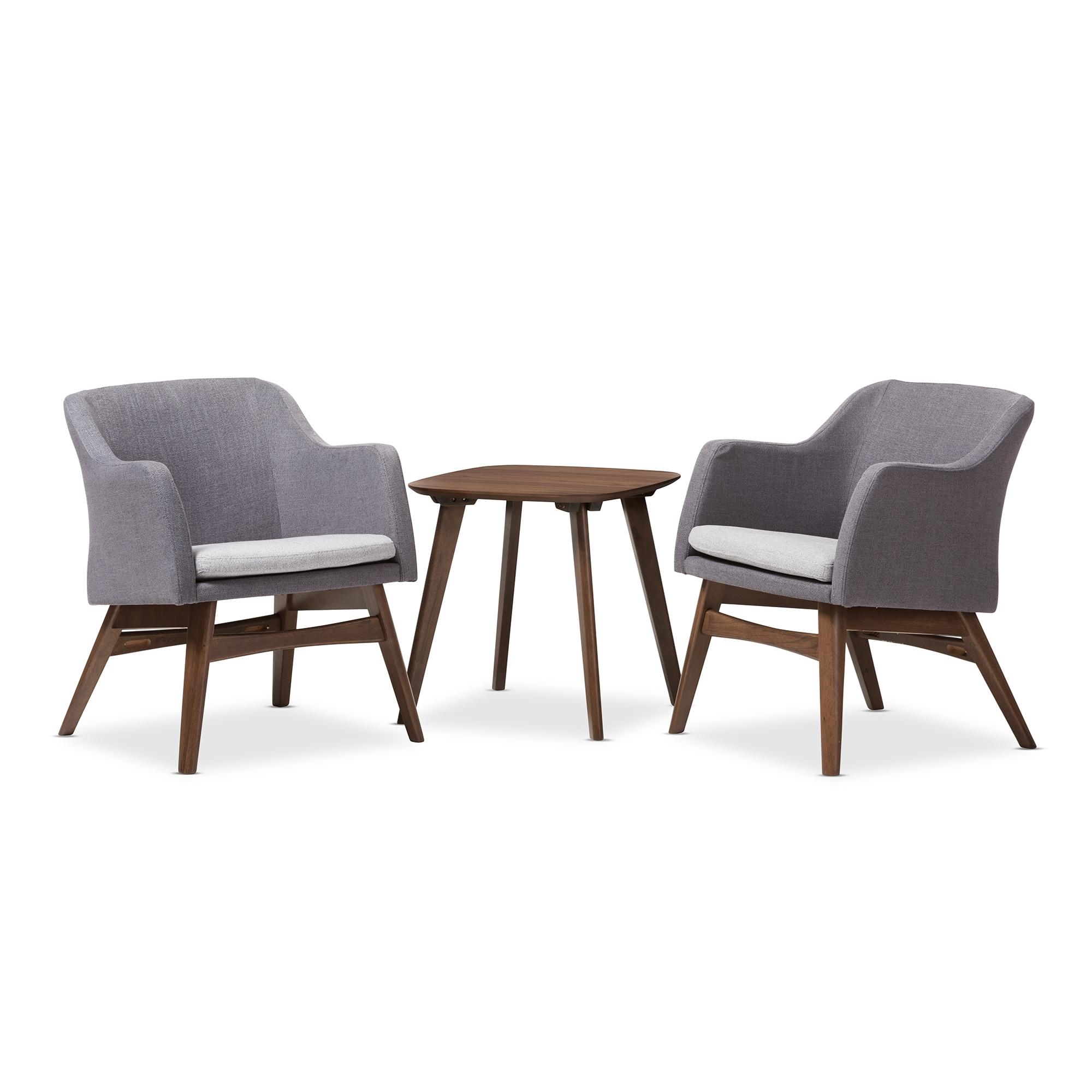 Baxton Studio Vera Mid Century Modern 3 Piece Lounge Chair And Side Table  Set