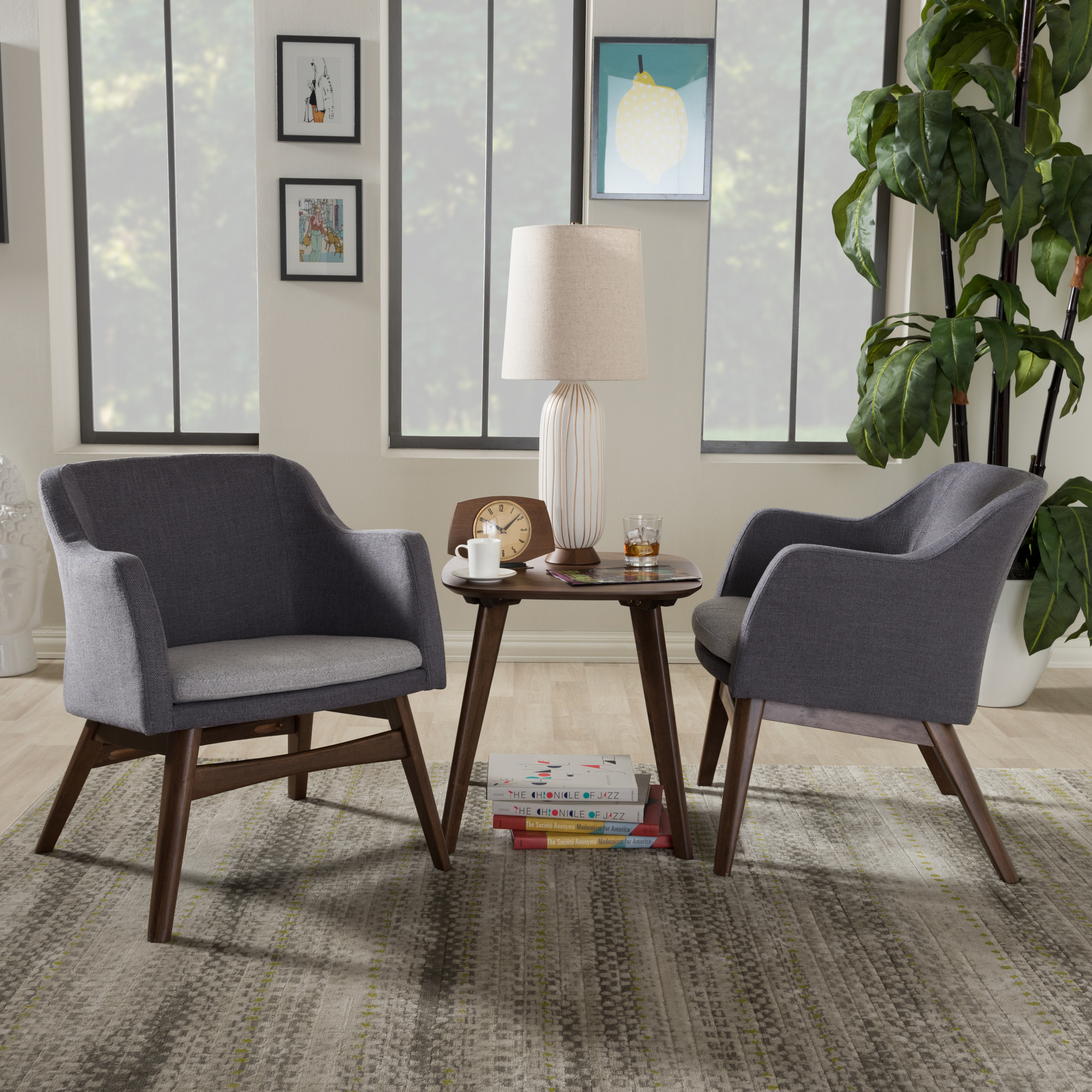... Baxton Studio Vera Mid Century Modern 3 Piece Lounge Chair And Side  Table Set ...