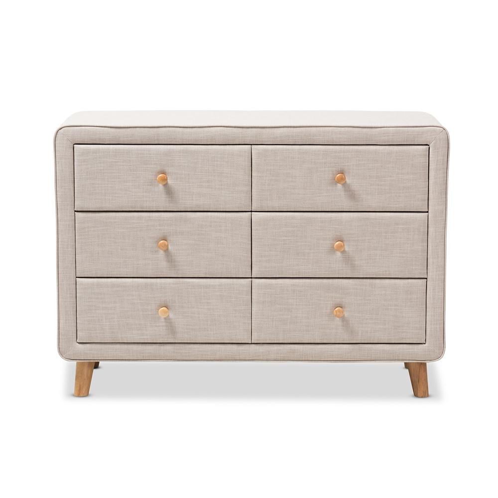Baxton Studio Jonesy Mid Century Beige Linen Upholstered 6 Drawer Dresser Bsobbt2041