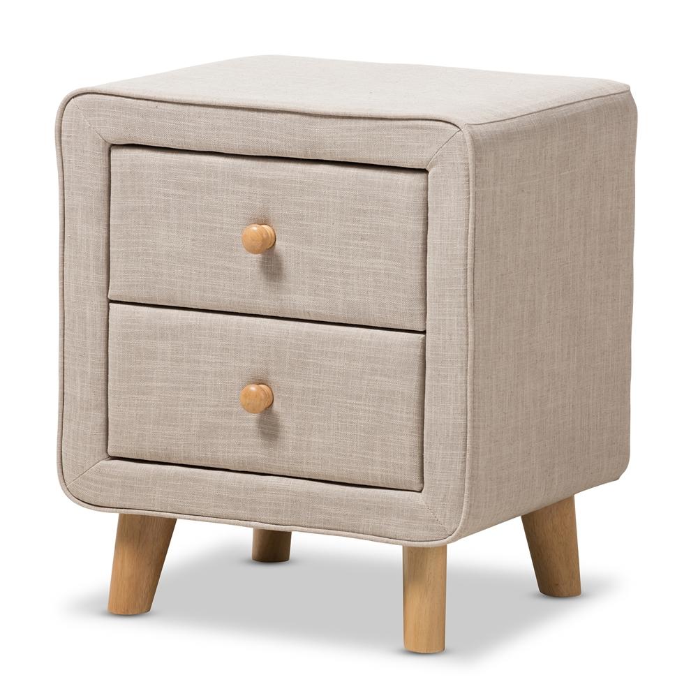 Baxton Studio Jonesy Mid Century Beige Linen Upholstered 2 Drawer