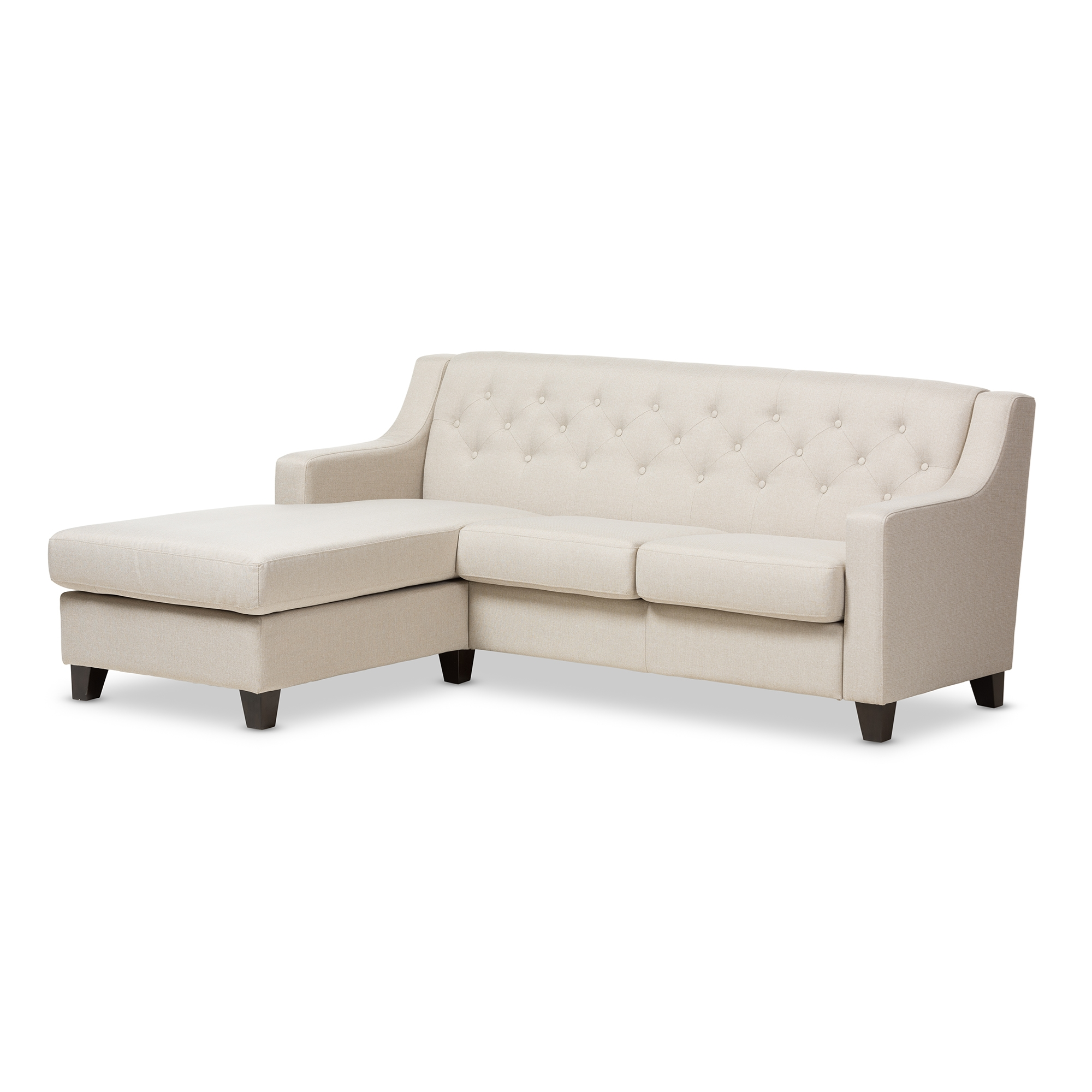 Baxton Studio Arcadia Light Beige Fabric Upholstered Button Tufted 2 Piece  Sectional Sofa Affordable