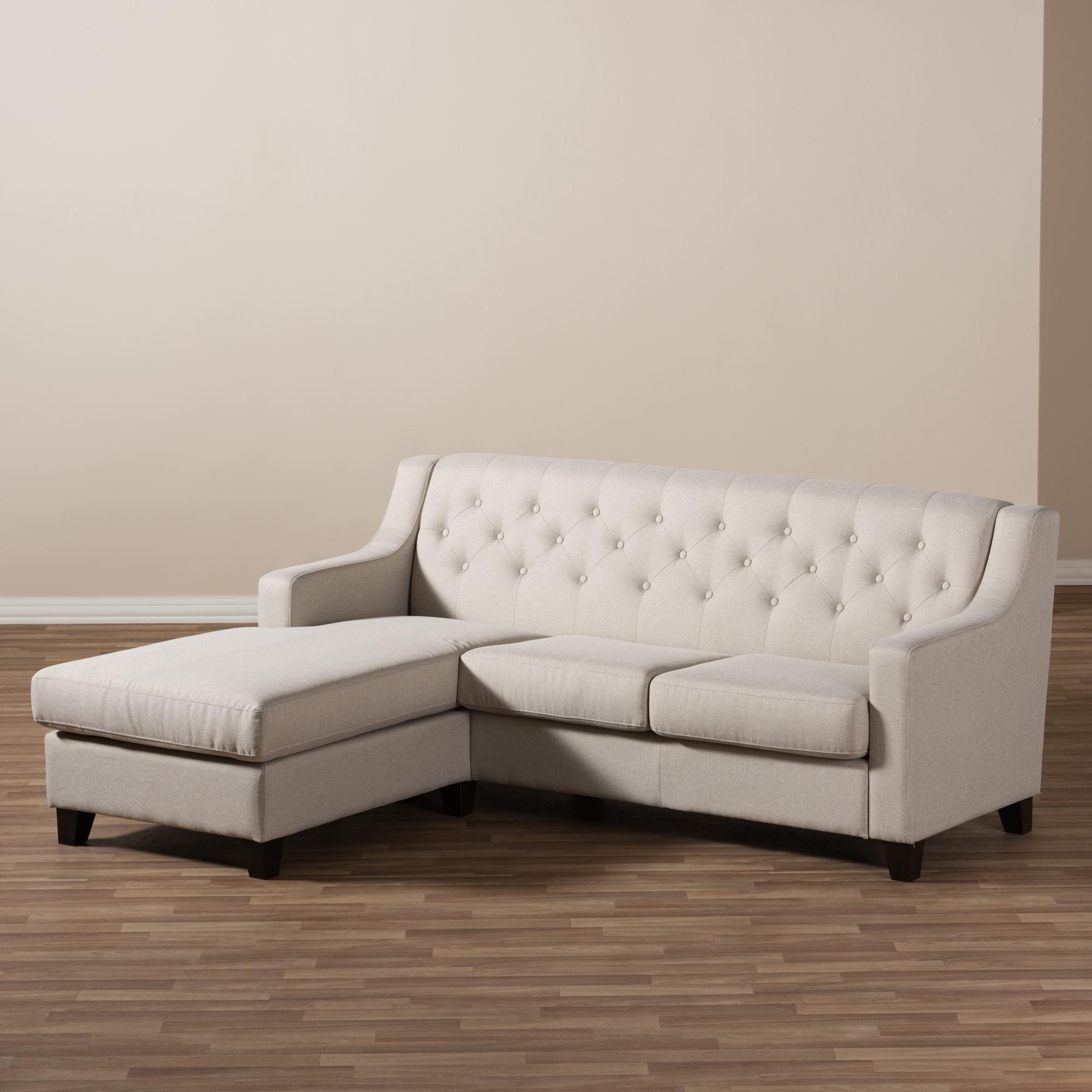 ... Baxton Studio Arcadia Light Beige Fabric Upholstered Button Tufted 2 Piece  Sectional Sofa ...