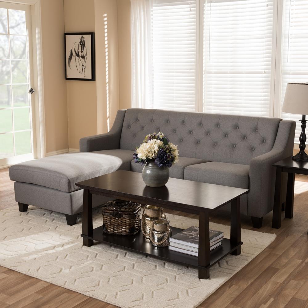 Sectional Sofa Grey Baxton Studio: Baxton Studio Arcadia Grey Fabric Upholstered Button