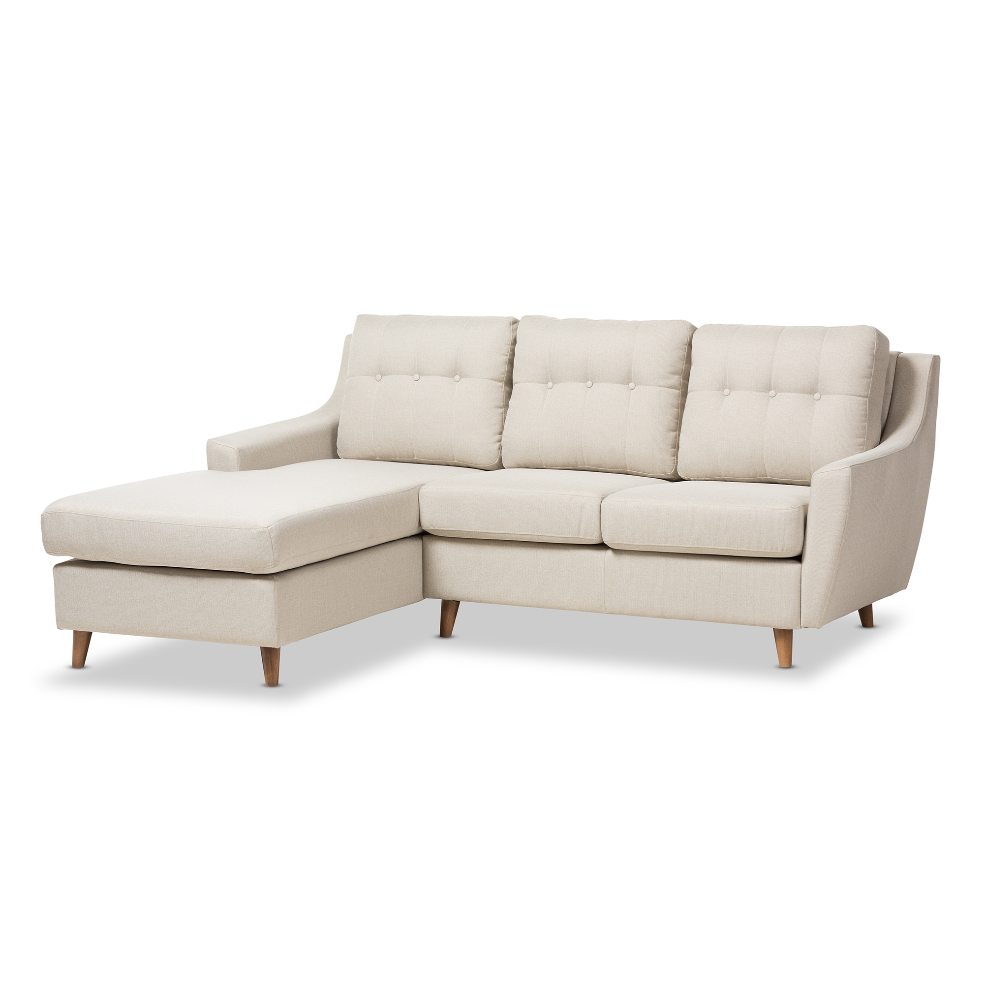 Baxton Studio Mckenzie Mid Century Light Beige Fabric Button Tufted 2 Piece  Sectional Sofa